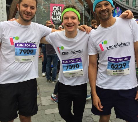 Leon, Tony and Ray in Roundabout t-shirts at the Sheffield 10k 2016