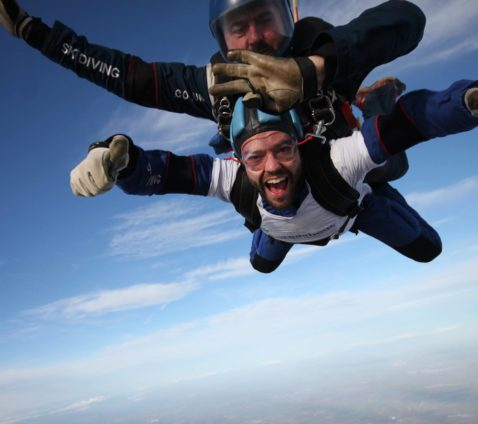 Adam on a tandem skydive