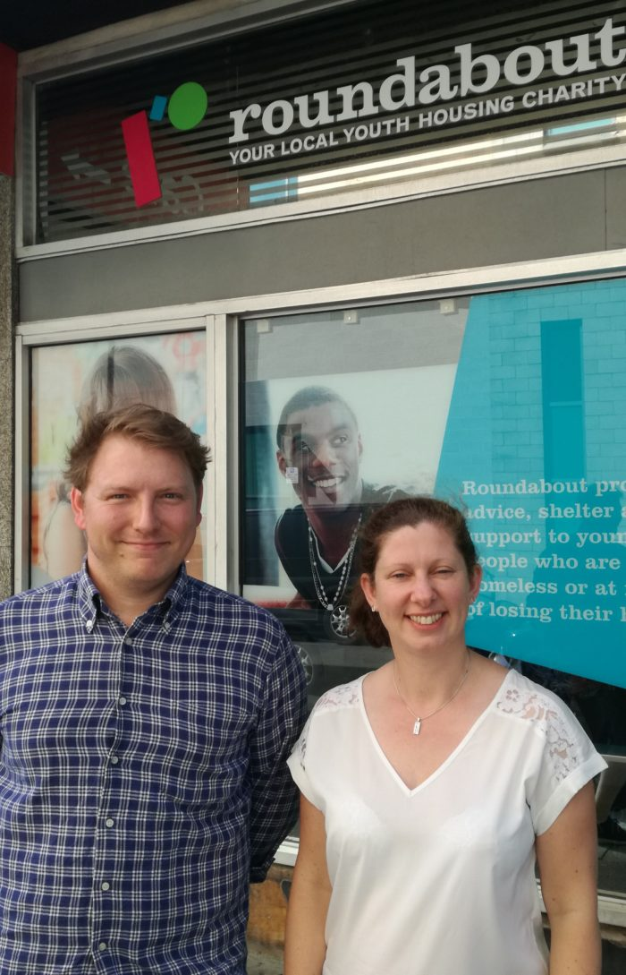 Steve Rimmer & Clare Collingworth outside Roundabout's Prevention Service on Union Street, Sheffield